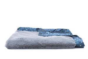 Gray Lush Navy Star Satin Back Receiving Blanket