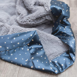 Gray Lush Navy Star Satin Back Toddler to Teen Blanket