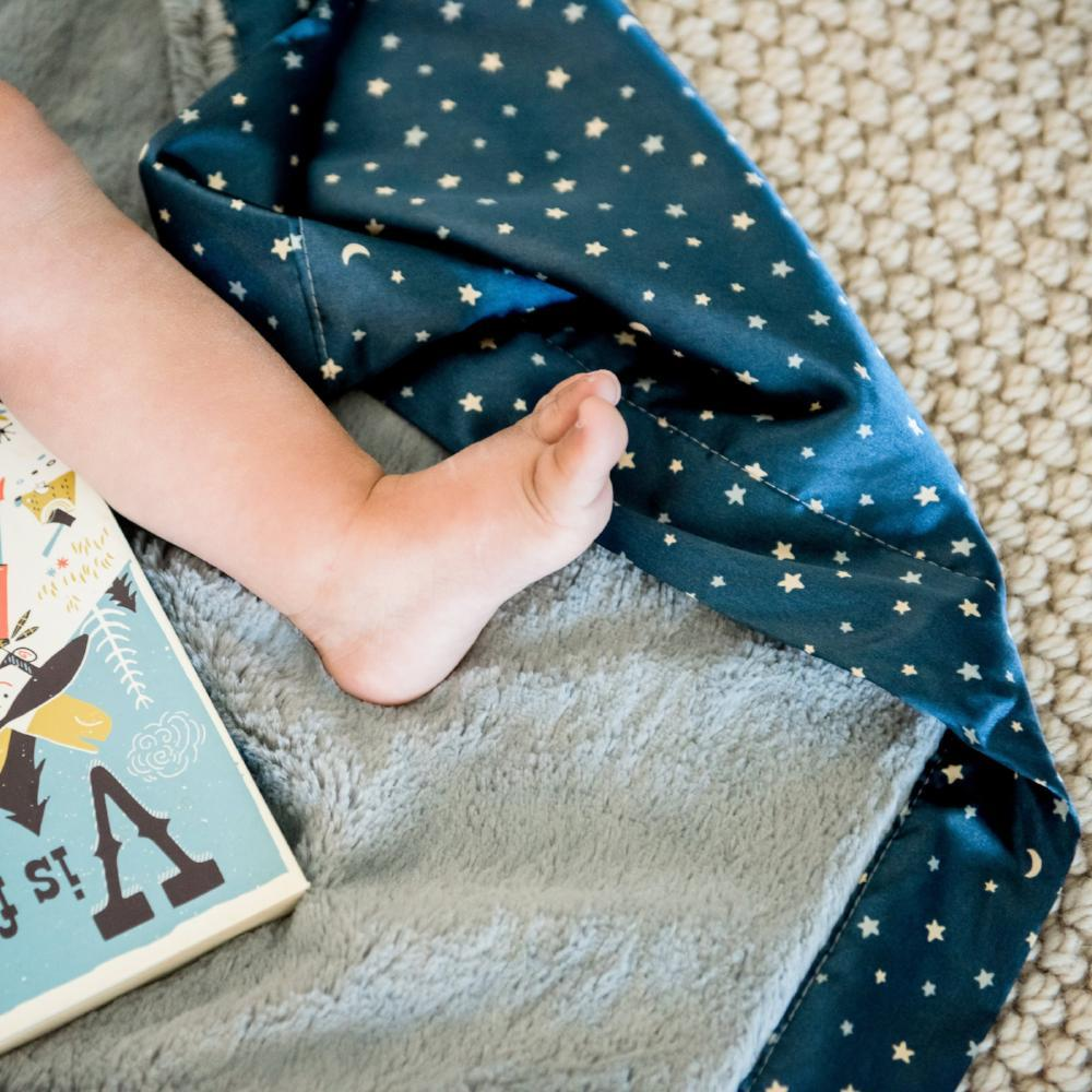 Gray Lush Navy Star Satin Back Mini Blanket