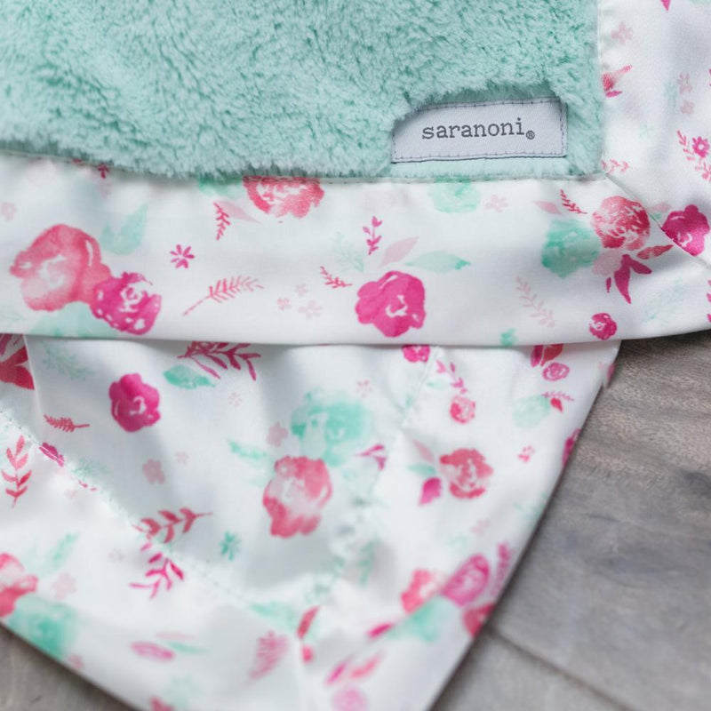 Mint Pastel Floral Satin Back Extra Large Blanket
