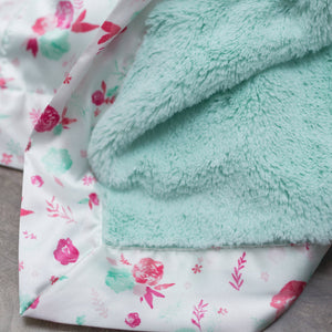 Mint Lush Pastel Floral Satin Border Extra Large Blanket