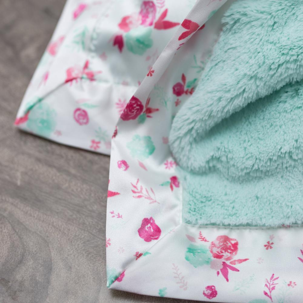 Mint Pastel Floral Satin Back Mini Blanket