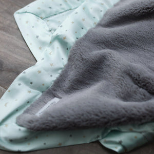 Mint Star Satin Back Receiving Blanket