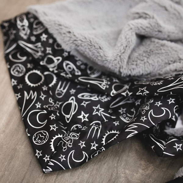 Gray Lush Black Launch Day Satin Back Blanket