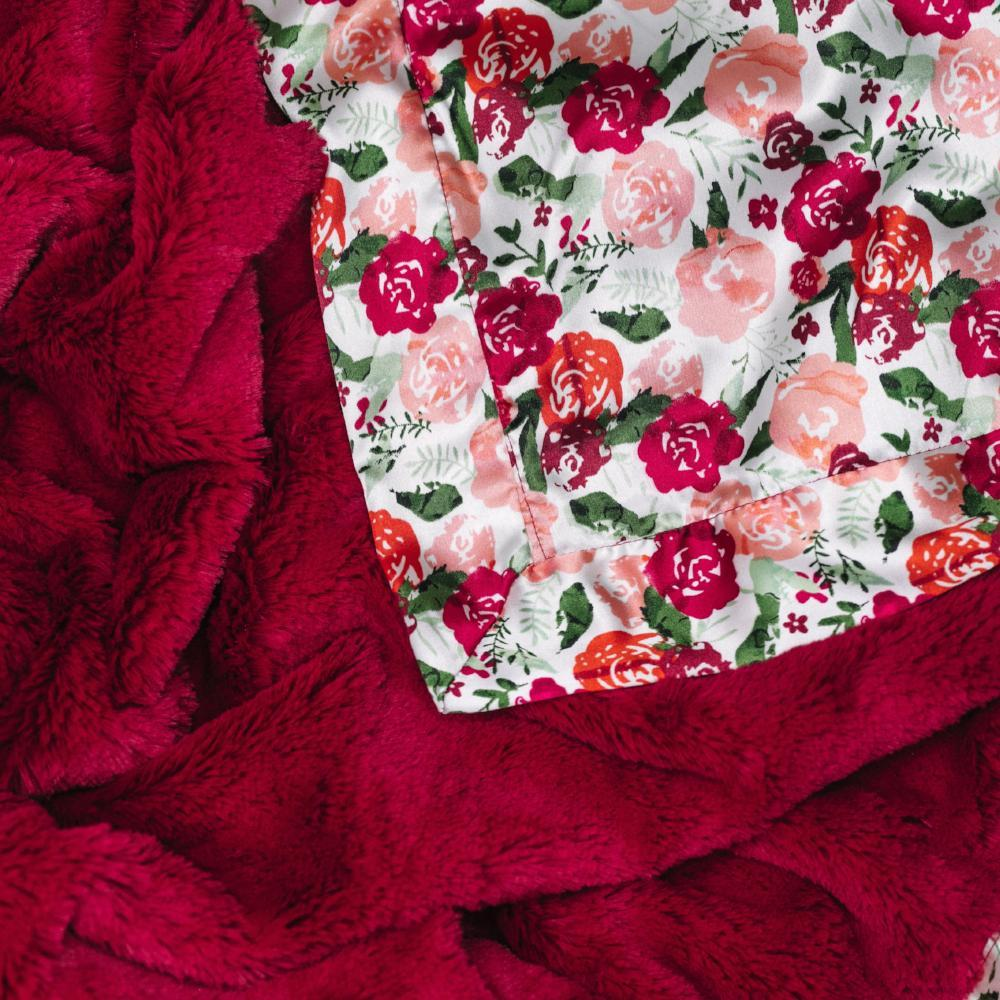 Raspberry Floral Satin Back Receiving Blanket