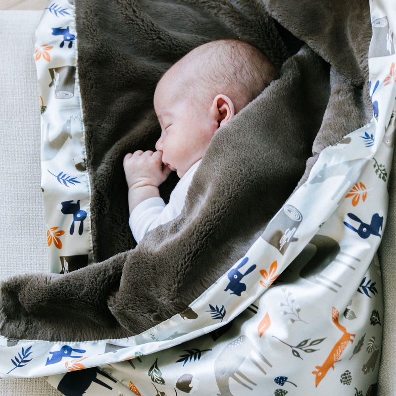 Little boy sleeps wrapped in super soft brown blanket with satin back blanket with forest animals.