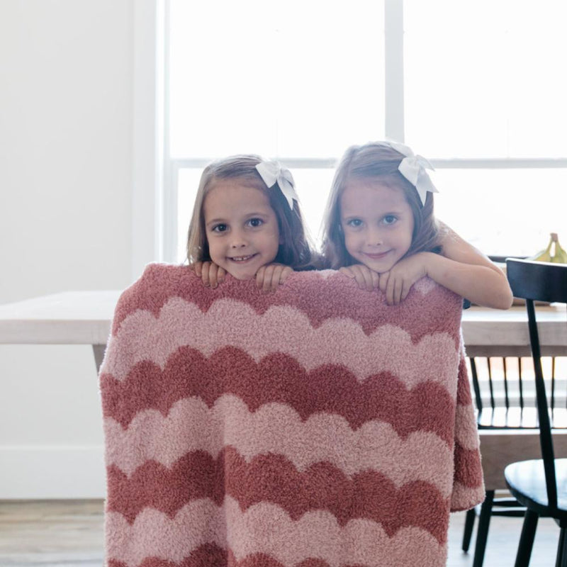 Pink Scallop Double-Layer Bamboni Receiving Blanket
