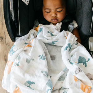 Baby sleeps in carseat while being covered with lightweight swaddle blanket with turtles and cactus.