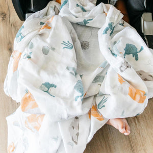 Turtle and the hare swaddle blanket.