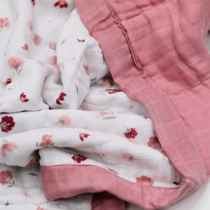 Pink Posies 4-Layer Muslin Quilt