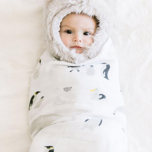 Baby swaddled in Antarctica penguin swaddle blanket.