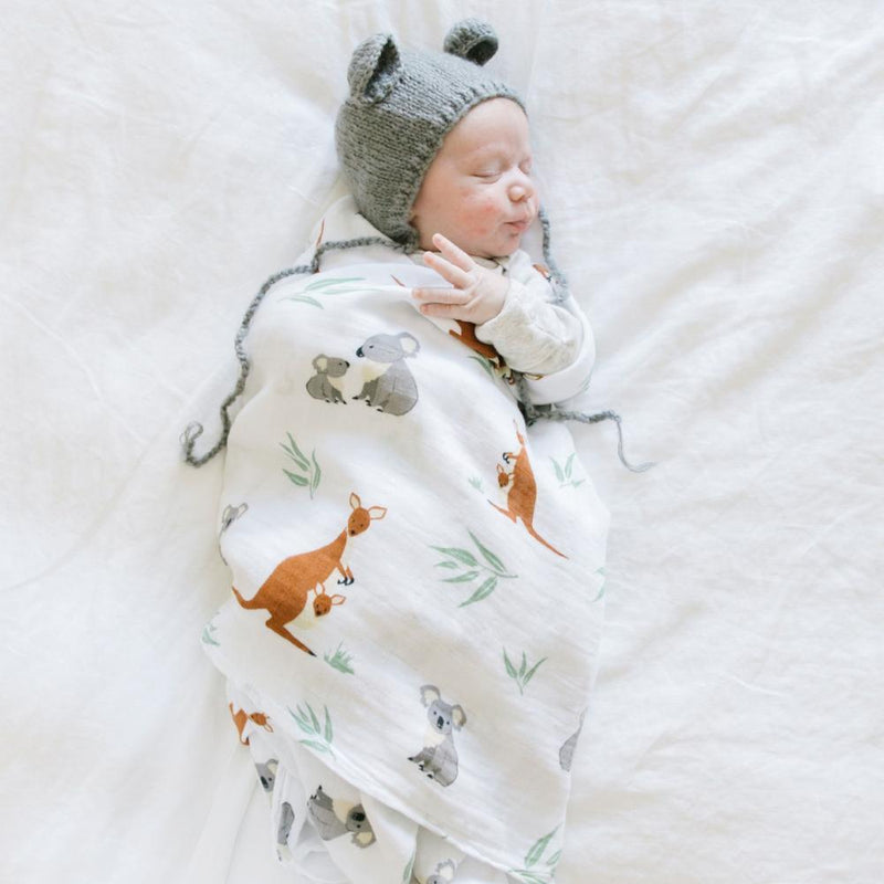 Kangaroo and Koala bear baby muslin swaddle.