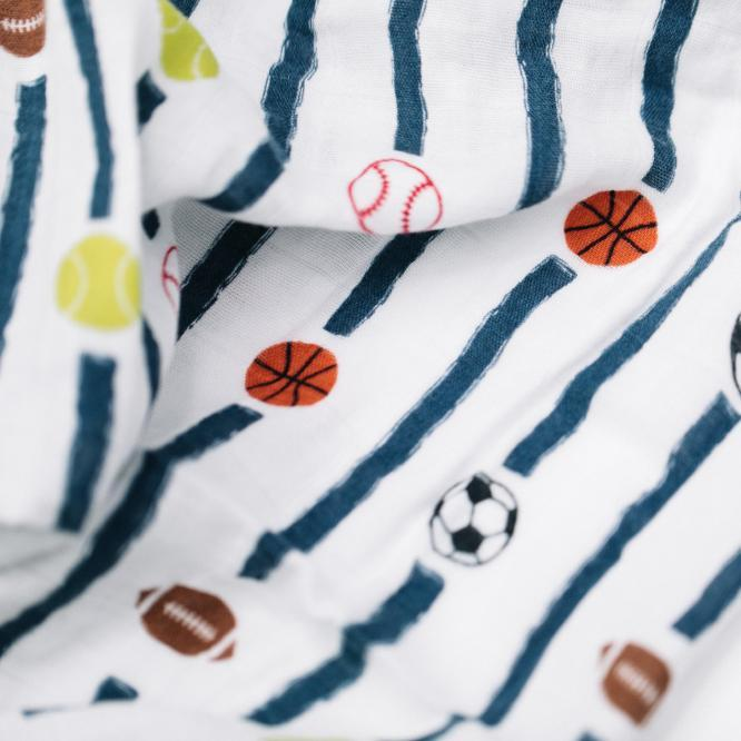 Let's Play Ball Bamboo Rayon Muslin Swaddle