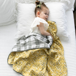 Yellow Buds Cotton Muslin 4-Layer Quilt