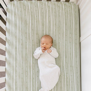 Forest Stripe Cotton Muslin Crib Sheet