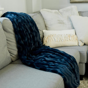 Midnight Blue Wave Extra Large Throw Blanket