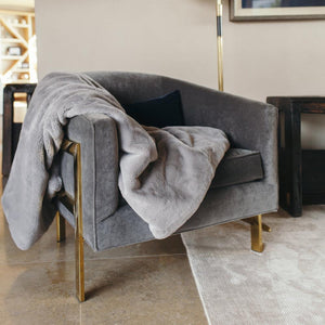 Gray Mink Grand Faux Fur Throw Blanket