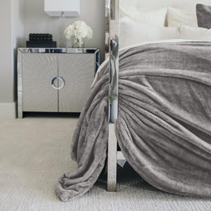 Elegantly placed Gray faux fur Queen comforter set.