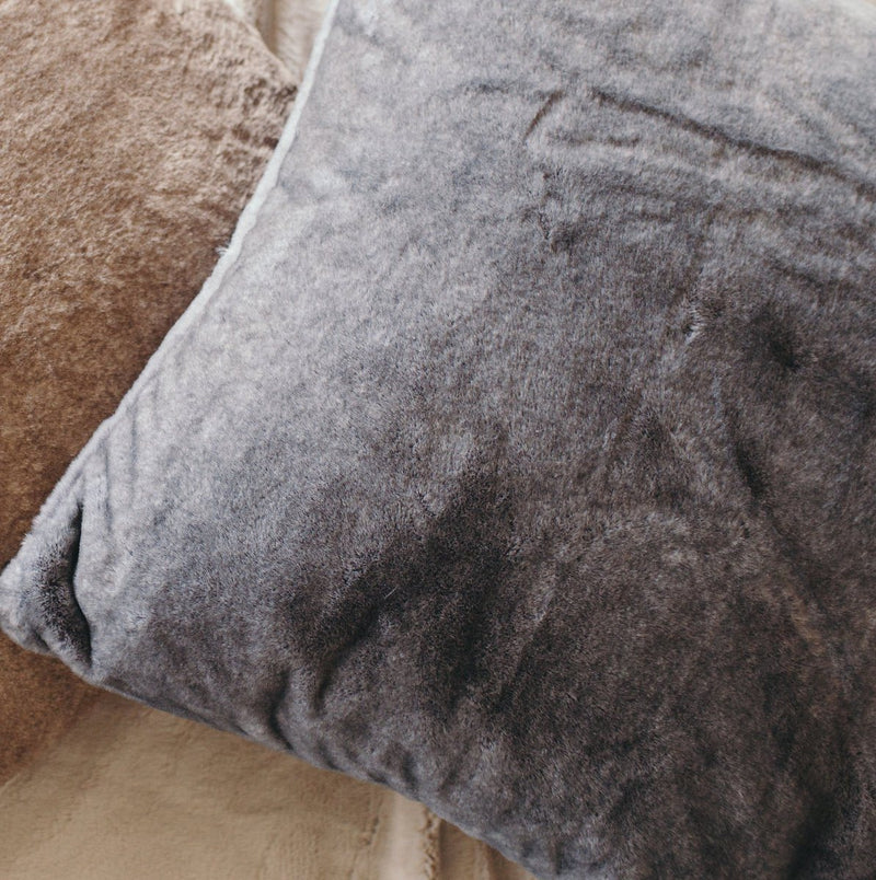 Beautiful Charcoal faux animal fur euro pillow case.