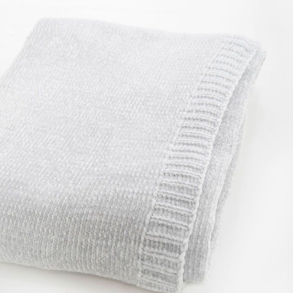 Silver Chenille Throw Blanket