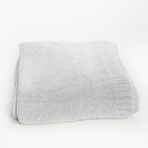 Silver Chenille Extra Large Throw Blanket