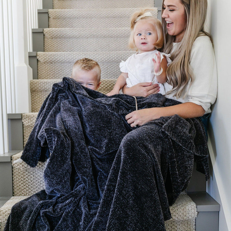 Coal Chenille Extra Large Throw Blanket
