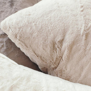 2-Pack Fawn Grand Faux Fur Euro Pillow Covers