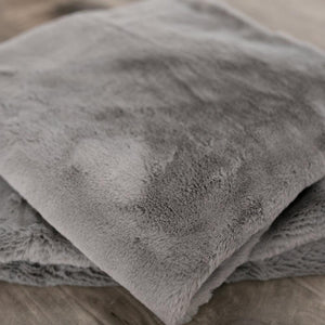 2-Pack Gray Mink Grand Faux Fur Euro Pillow Covers