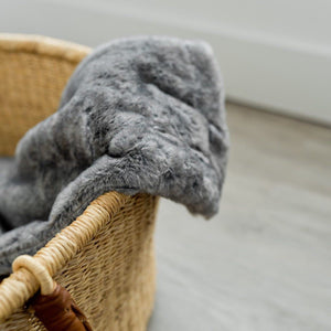 Chinchilla Grand Faux Fur Receiving Blanket