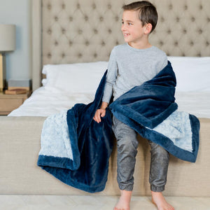 Light Blue Swirl Navy Lush Toddler to Teen Blanket