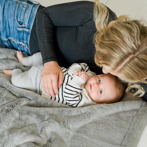 Gray receiving baby blanket, luxuriously soft faux fur blanket.