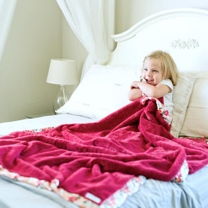Raspberry Lush Floral Satin Border Toddler to Teen Blanket