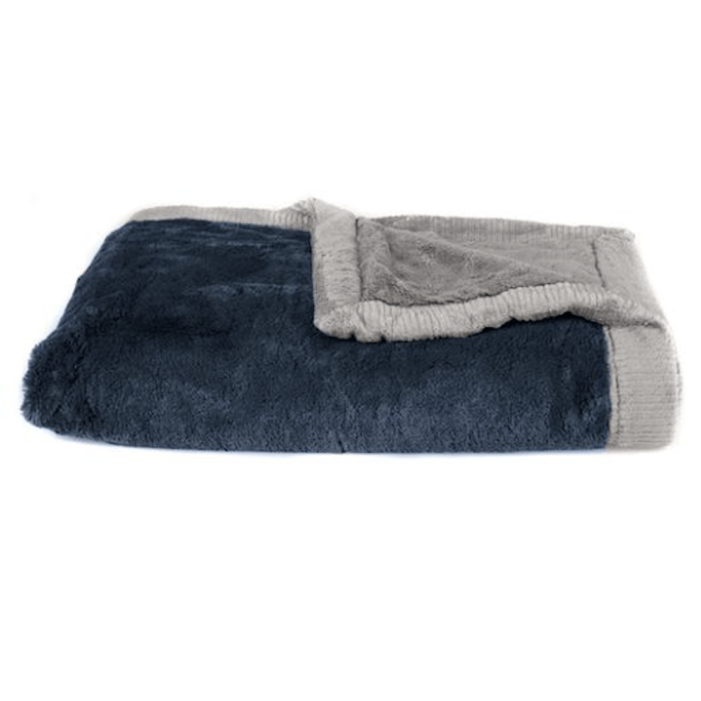 Navy Gray Lush Receiving Blanket