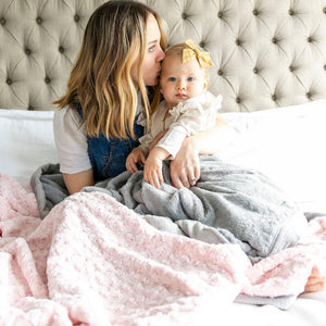 Light Pink Swirl Gray Lush Extra Large Blanket