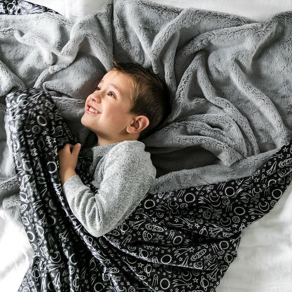 Gray Lush Launch Day Satin Back Extra Large Blanket