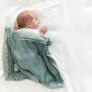 Newborn sleeping with beautiful sage lush baby security blanket.