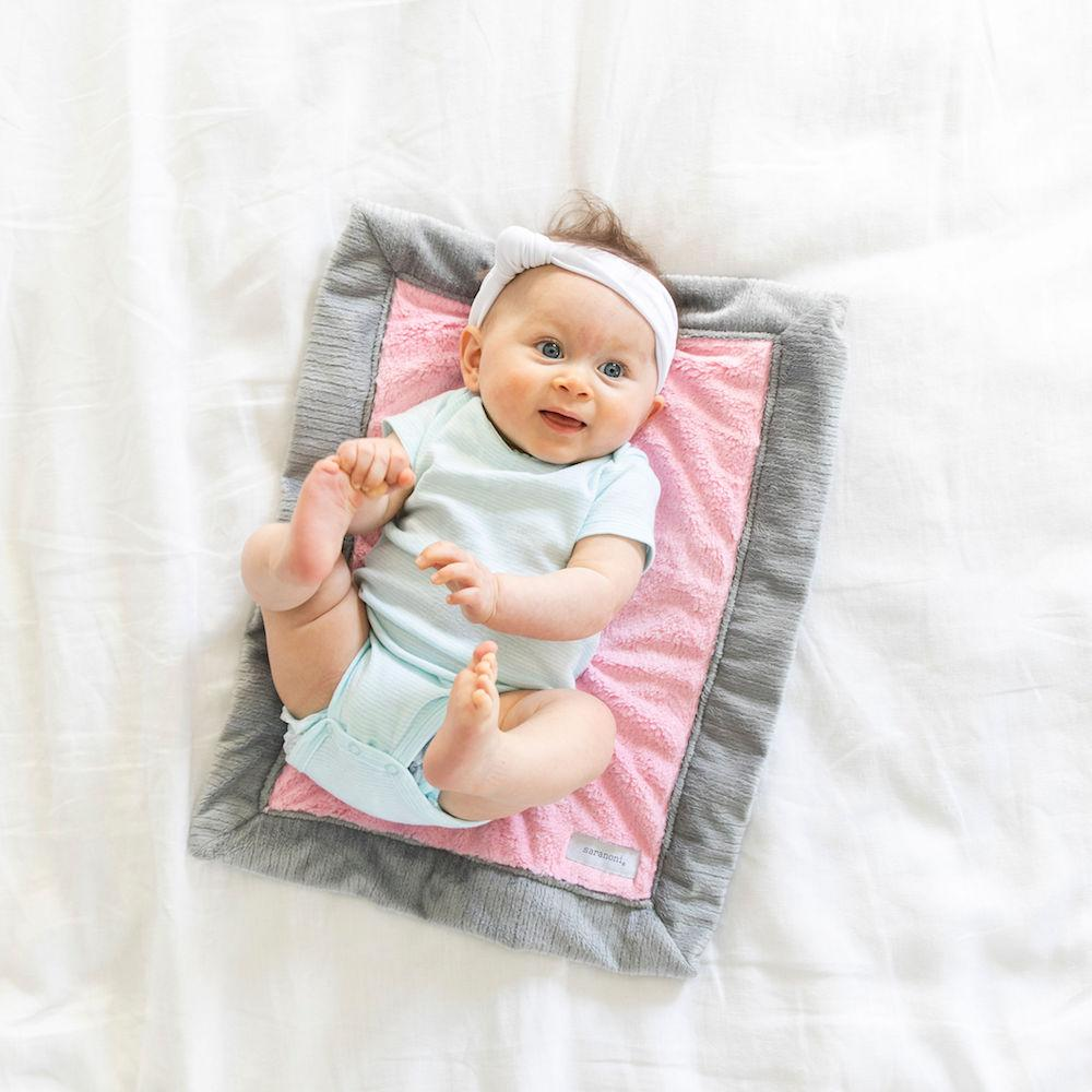 Pink Gray Lush Mini Blanket