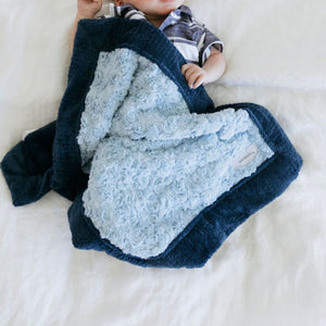 Light Blue Swirl Navy Lush Mini Blanket