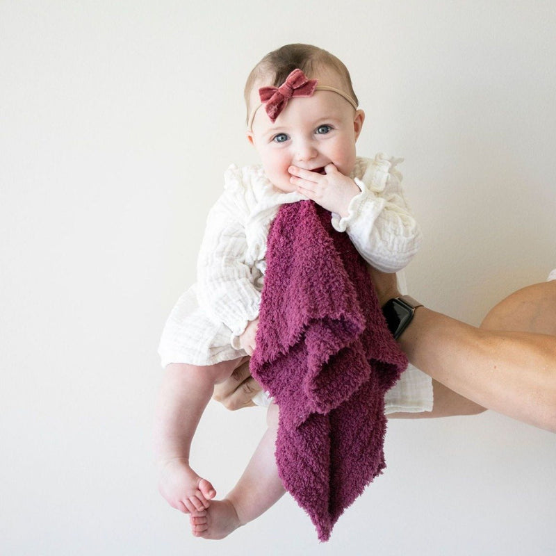 Baby girl being held up by her dad while holding a pretty purple security blanket.