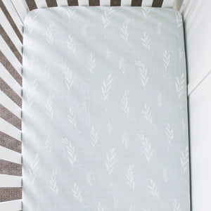 Olive Branch Cotton Muslin Crib Sheet