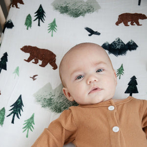 Yosemite Cotton Muslin Crib Sheet