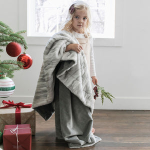 Gray Marble Lush/Minky Throw Blanket