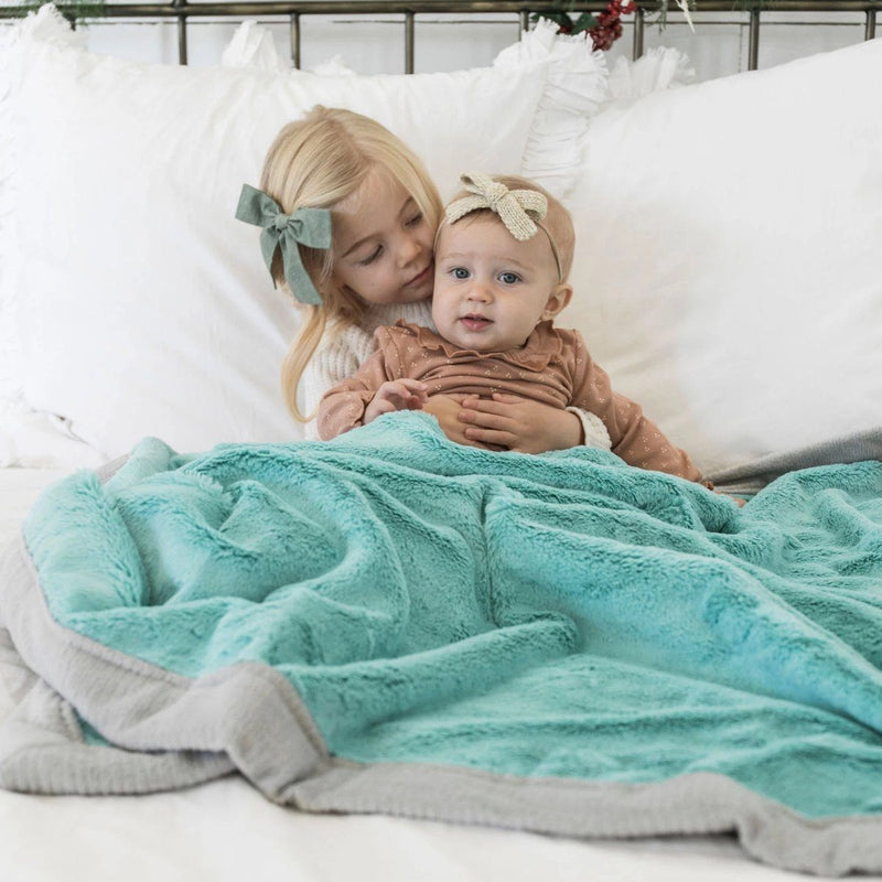 Aqua Gray Lush Toddler to Teen Blanket
