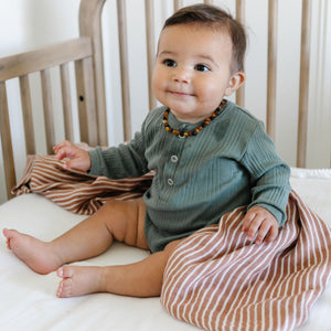By Hope Camel Stripe Bamboo Rayon Muslin Swaddle