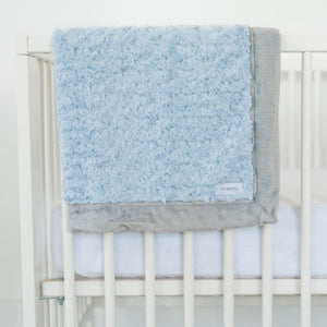 Light Blue Swirl Gray Lush Receiving Blanket