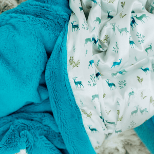 Caribbean Lush Deer Satin Back Receiving Blanket