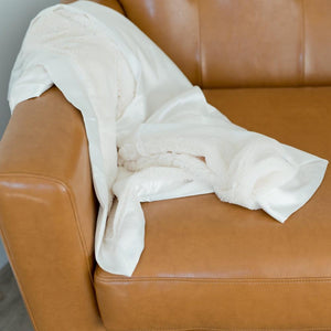 Ivory Lush Satin Back Receiving Blanket