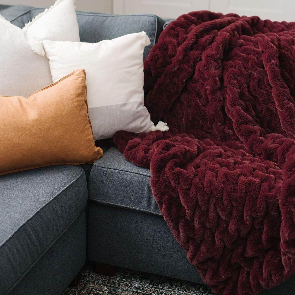 Cranberry Ruched Minky Extra Large Throw