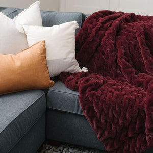 Cranberry Ruched Minky Throw