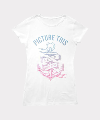 Never Change Anchor Ladies White T-Shirt